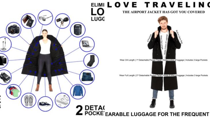 【発明】大量の手荷物を飛行機内に持ち込み可能なコート