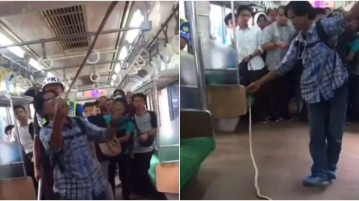 通勤電車で大蛇パニック発生!中年ヒーローが一瞬でヘビを撃退動画