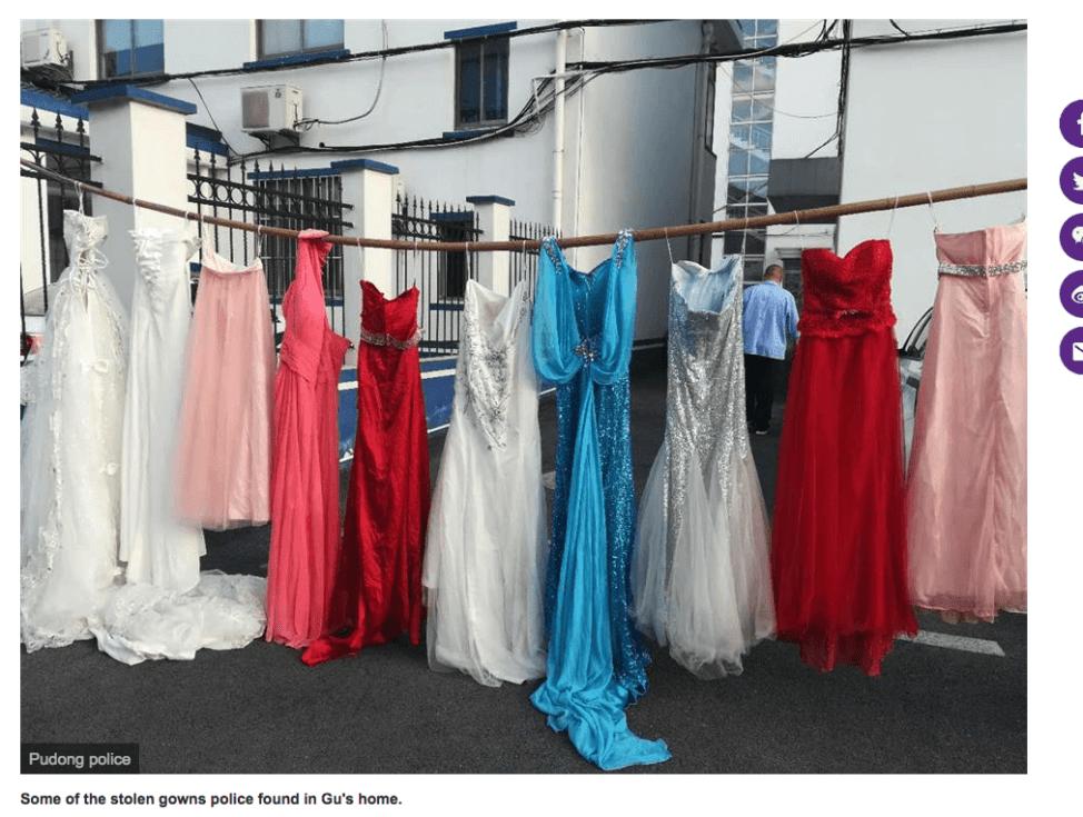 中国の連続ウエディングドレス窃盗事件