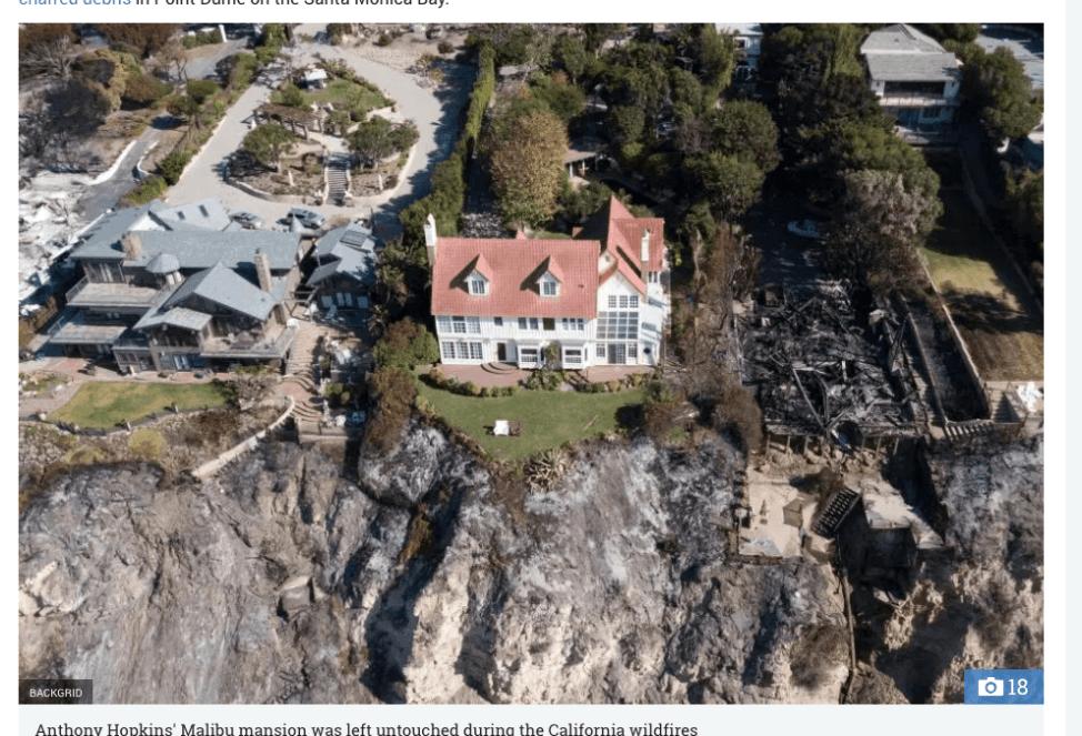 カリフォルニアの山火事でアンソニー・ホプキンスの自宅無傷