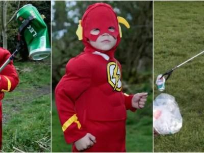 4歳のゴミ拾いスーパーヒーロー