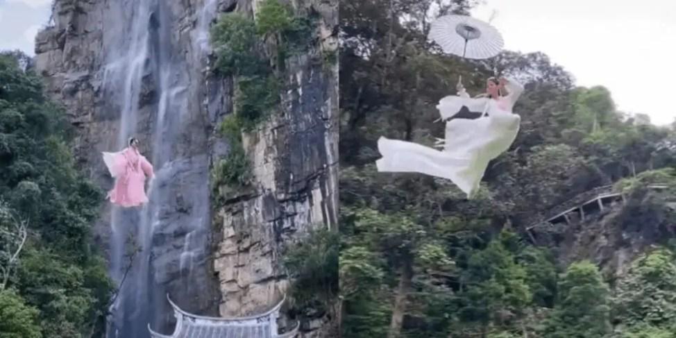中国絶景スポットで空中ワイヤーアクション体験