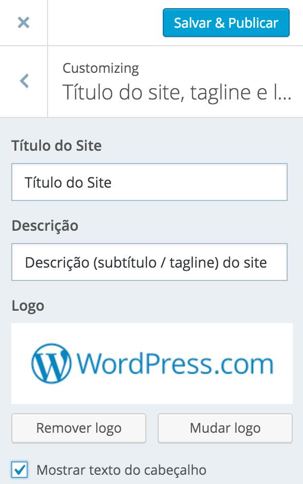 Titulo do site, tagline e logotipo