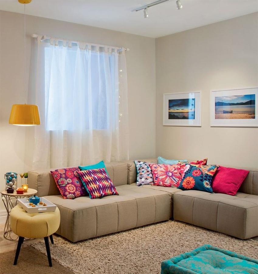 Neutral sofa with colorful cushions