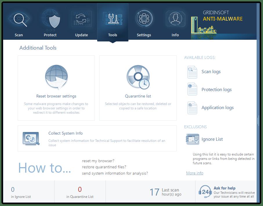 Tools tab in GridinSoft Anti-Malware