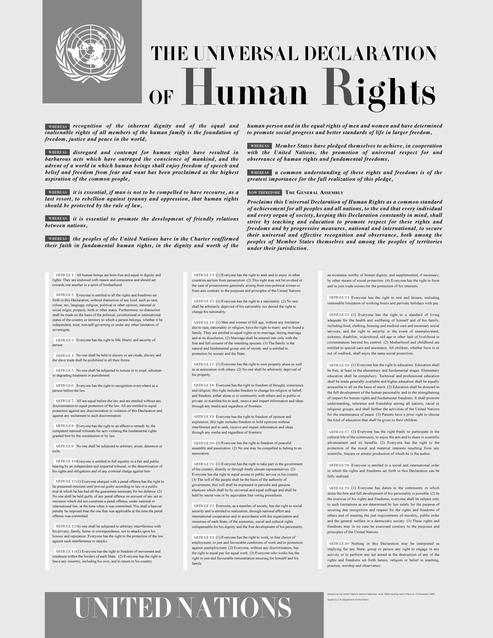 a declara o proclama inequivocamente os direitos inerentes de todos os seres humanos o desconhecimento e o desprezo dos direitos humanos conduziram a