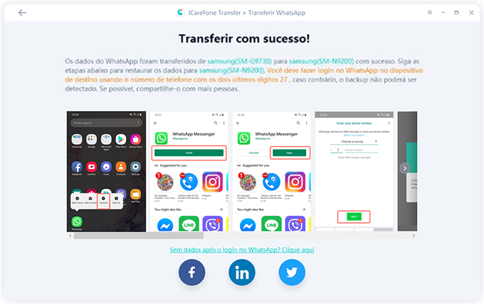iCareFone Transferir Mensagens do WhatsApp Entre iPhone e Android Etapa 3