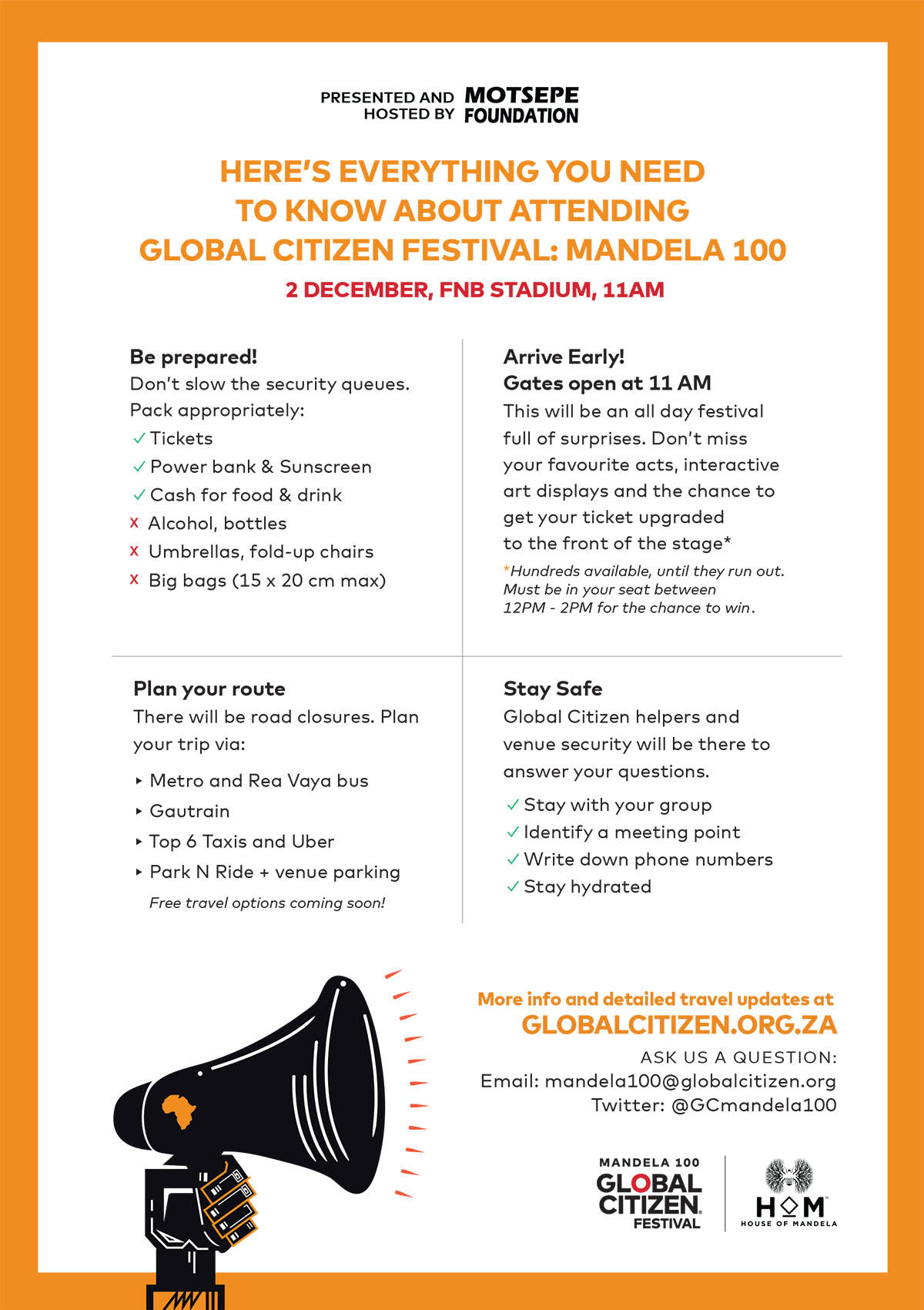 7 Great Reasons to Get to Global Citizen Festival: Mandela 100 Early