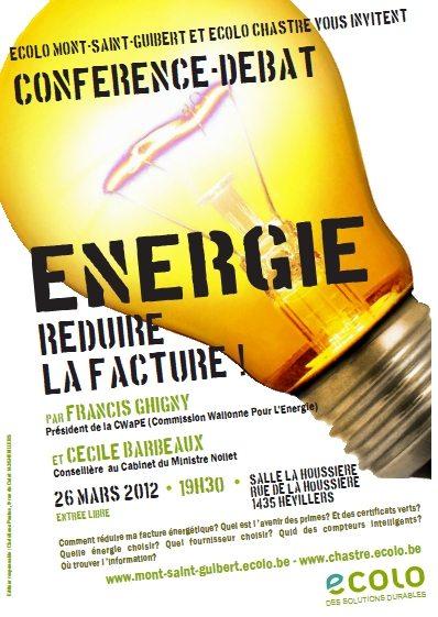 Energie : réduire la facture ! Conférence-débat le 26/03 à Mont-St-guibert