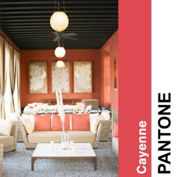 Color Forecast Pantone Spring 2014 Color Report Cayenne Living Room Wall and Pillows Wall Art Coffee Table Pendant Lights