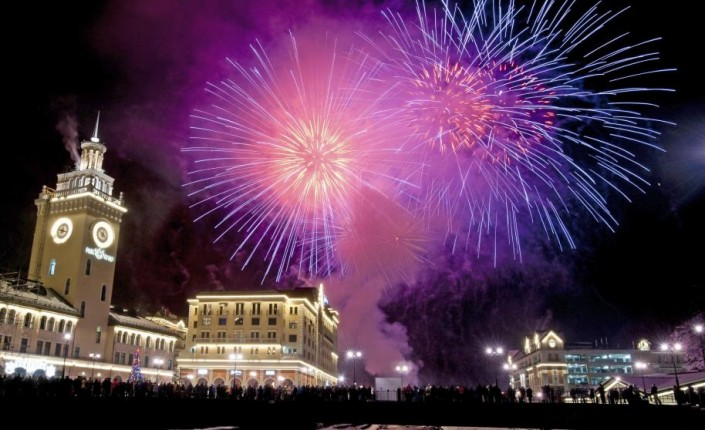 """Celebrating New Year 2014-Krasnaya Polyana_Russia- Fireworks explode above Rosa Khutor ski resort"""