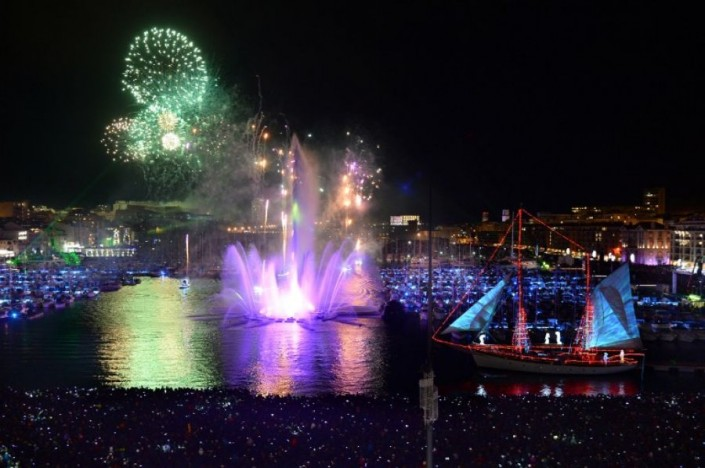 """""""Celebrating New Year 2014-Marseille- France- Pyrotechnic show in the Vieux Port"""""""