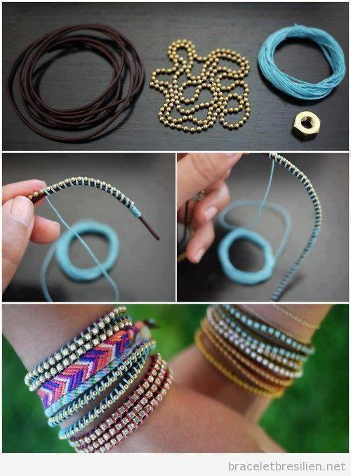 bracelet realis avec de cuir perles et fils bracelets br siliens tout sur comment r aliser. Black Bedroom Furniture Sets. Home Design Ideas