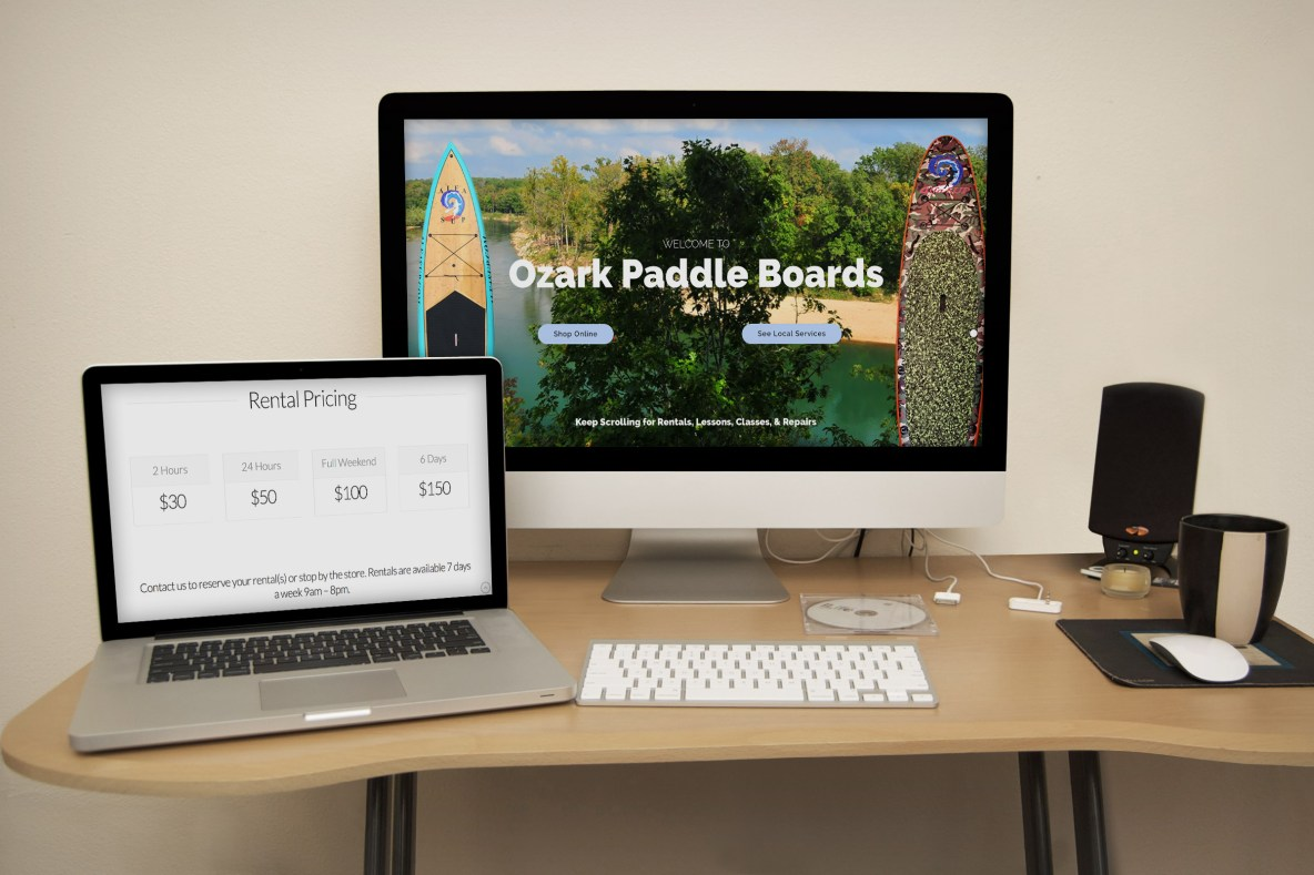 Ozark Paddle Boards Website Mockup - Springfield Missouri