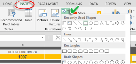 creating a shape in excel
