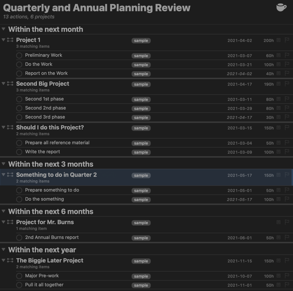 Quarterly and Annual Planning Review Sample Output
