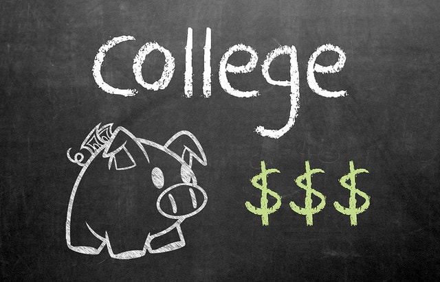 Blackboard illustration that college is expensive and often requires loans
