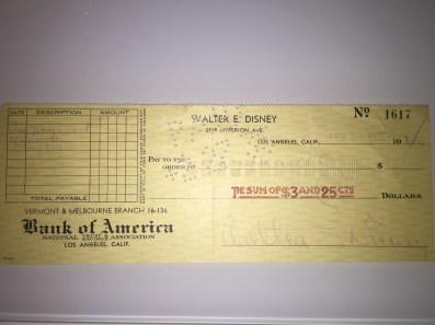 Check signed by Walt Disney