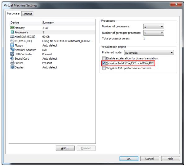 Getting Hyper-V working on VMware Workstation
