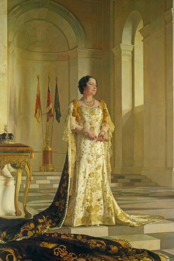 """The coronation portrait of the """"Smiling Duchess"""" whom Adolf Hitler dubbed """"the most dangerous woman in Europe"""" upon becoming Queen in 1937."""