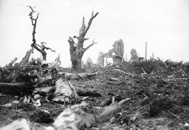 Towns and villages located anywhere near the vicinity of the trenches were completely decimated, such as the ruined remains of the village of Gommecourt, France, seen here. (historyboomers.blogspot.com)