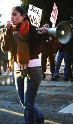 Yadira Ramirez marches against HR 4437 in Santa Cruz on March 17, 2006. Photo by Josh Sonnenfeld.