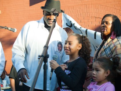 """Oscar Grant's daughter, Tatiana Grant said, """"I just want to thank you everybody for coming."""""""