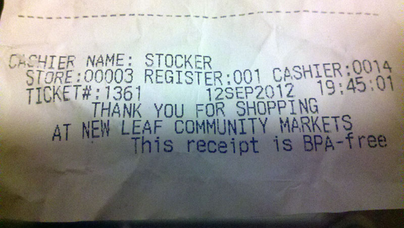 Receipt from New Leaf Market, 9/12/12 at 7:45 p.m.