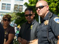 Watsonville Brown Berets and Watsonville Police Officer