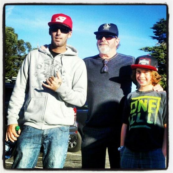 "Jason ""Ratboy"" Collins, born in Santa Cruz, with Pat and Phoenix O'Neill"