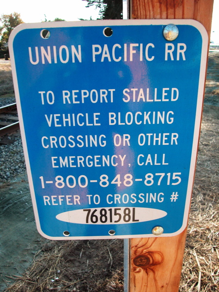 Write This Down! 1-800-848-8715 #768158L incase the Union Pacific is about to crush you, your bicycle or your car and everyone inside it!