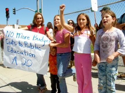 """These youngsters from Watsonville chanted, """"Terminate the Terminator."""""""