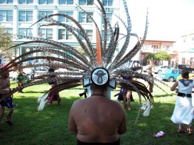 The Beat of a Drum kept the whole march going. White Hawk Aztec Dancers.