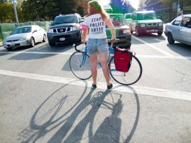 Maggie of the bike brigade helps ensure a safe march