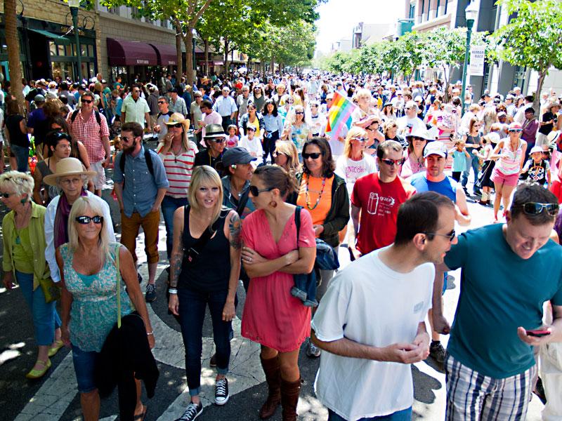 Streaming Onto Pacific Avenue at Tail end of Santa Cruz Pride Parade