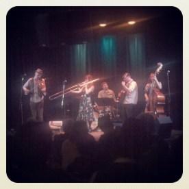 Sour Mash Hug Band, Mickey, Shiri, Leo, Scott, and Julianna, at Club Kuumbwa in Santa Cruz.