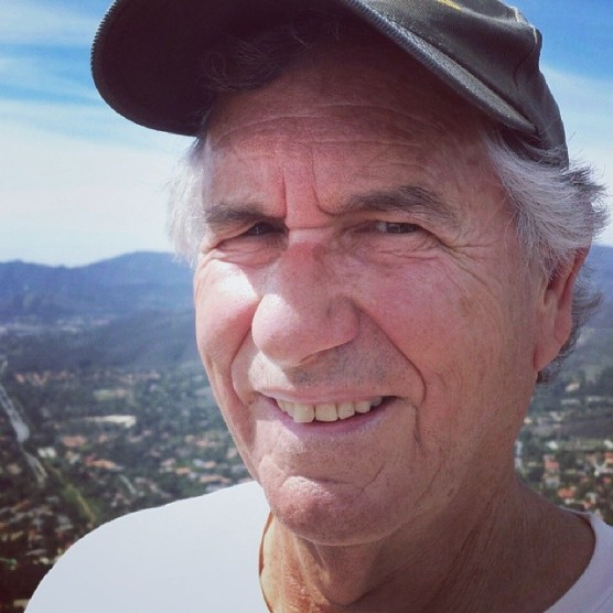 """Barry on top of China Flat. Oak Park and the area of Thousand Oaks known as """"Westlake"""" are in the background, Lindero Canyon Road is to the left. We could see Conejo Valley, Simi Valley, San Fernando Valley, and Santa Cruz Island."""