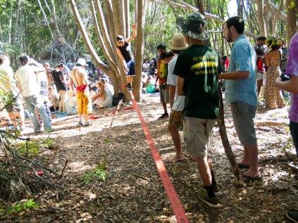 Slacklining on 420 at UC Santa Cruz