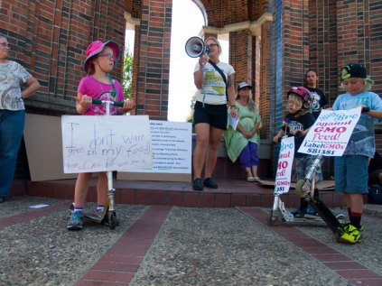 Tarah Locke, a Mother and the Founder of GMO-Free Right to Know! Santa Cruz, speaks at the March Against Monsanto rally at the clock tower in downtown Santa Cruz.