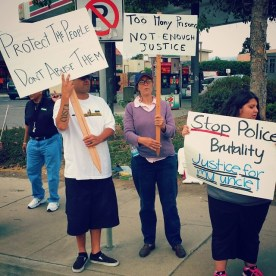 """Rally on July 12 in East Salinas against police violence and to demand justice for Frank Alvarado. Demonstrators, including friends and family from Santa Cruz and Monterey Counties, held signs such as """"Protect the People, Don't Abuse Them"""", """"Too Many Prisons. Not Enough Justice"""", and """"Stop Police Brutality. Justice for my uncle!"""""""