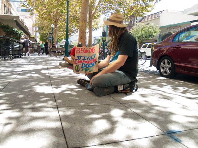 """Druid sits while holding a sign near Santa Cruz Coffee Roasting Company on Pacific Avenue, """"Begging Stinks. Compassion Doesn't. I (heart) 420"""""""