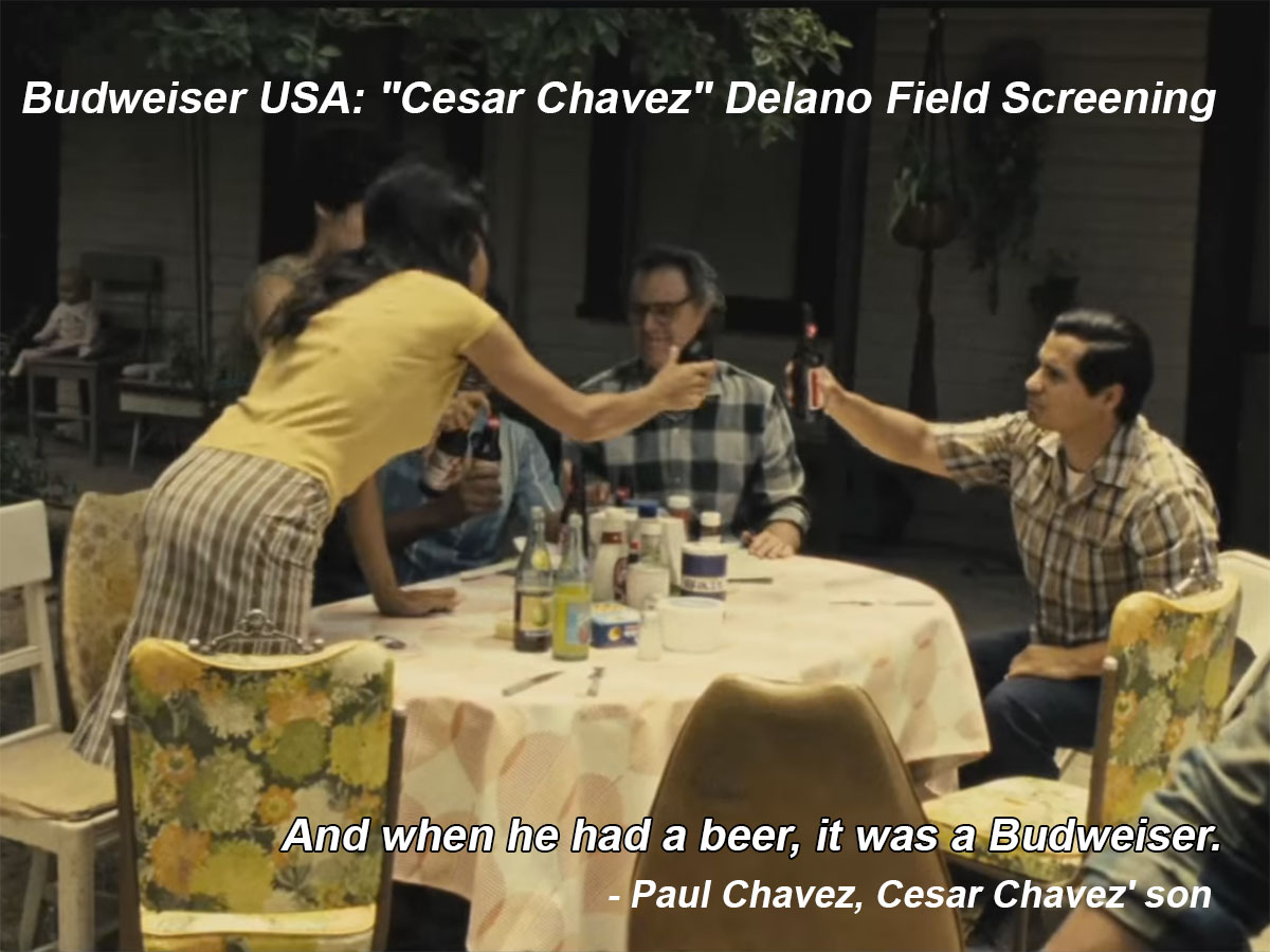 "Image from a video on YouTube published by Budweiser. The caption on YouTube reads: Watch as Budweiser hosts a field screening of the ""Cesar Chavez"" film in Delano for farm workers that were instrumental in the movement. Courtesy of www.budlight.com"