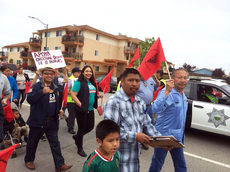 California State Assembly member Luis Alejo, Assembly candidate Karina Cervantez Alejo, and UFW President Arturo Rodriguez at the front of the annual Cesar Chavez March in Salinas, California. April 3, 2016. Photo via UFW.
