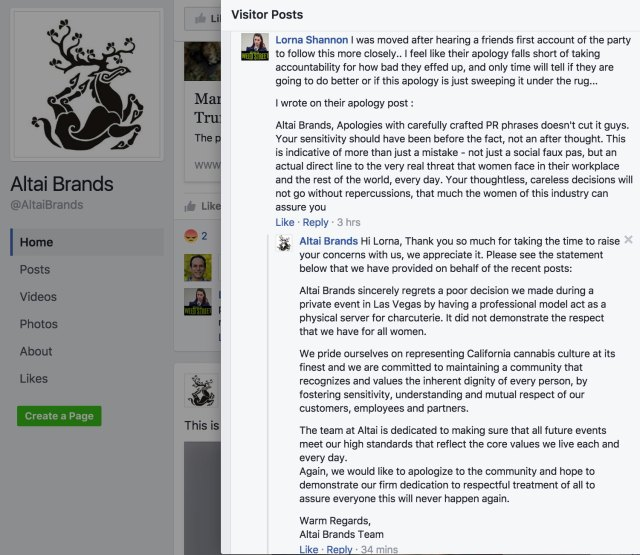 Altai Brands reposts their public relations statement in direct response to a critique of their public relations statement.
