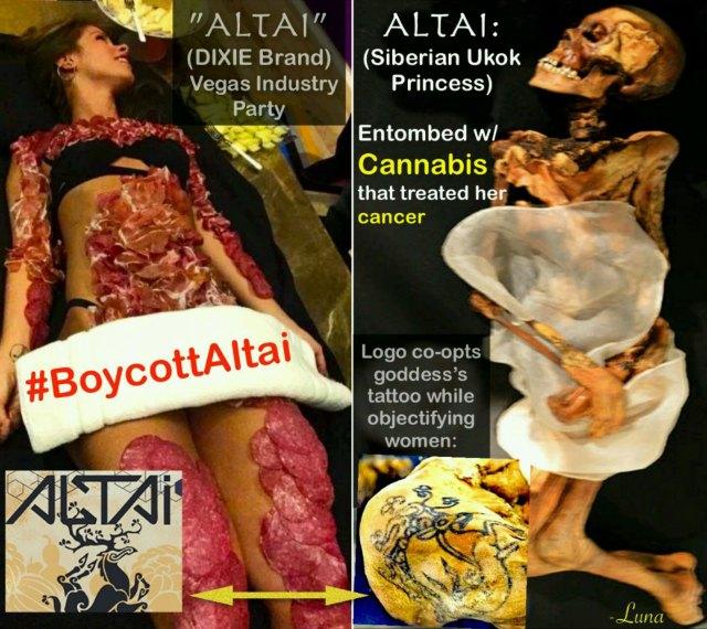 Boycott Altai Brands. Graphic design by Luna.