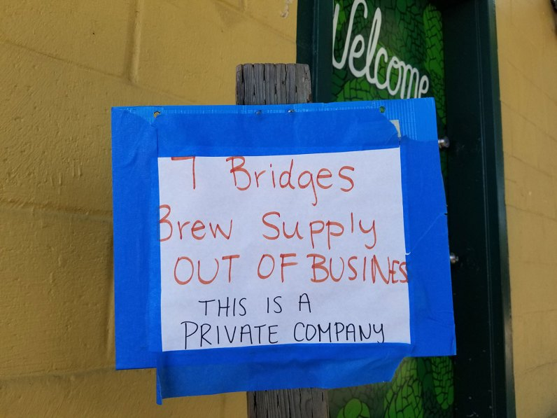 7 Bridges Brew Supply Out Of Business