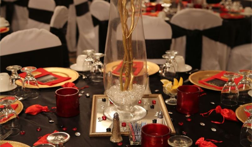 Black And Gold 65th Birthday Decorations Red Table
