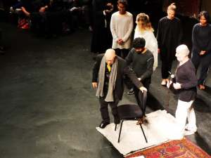 Peter Brook Sitting at the Bouffes du Nord Photo: ©Brad Spurgeon