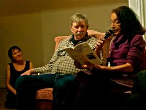 Jim Haynes and Varda Ducovny, with host Grace Teshima behind. Photo © Seamas McSwiney