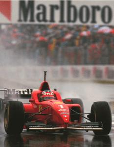 Michael Schumacher's first win for Ferrari in the wet in Spain in 1996. Photo credit: © Agence de Presse ARC/Mario Luini